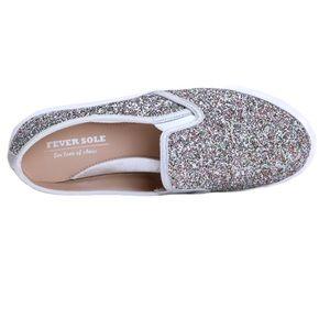 Feversole Women's Glitter Silver Slip On Sneaker